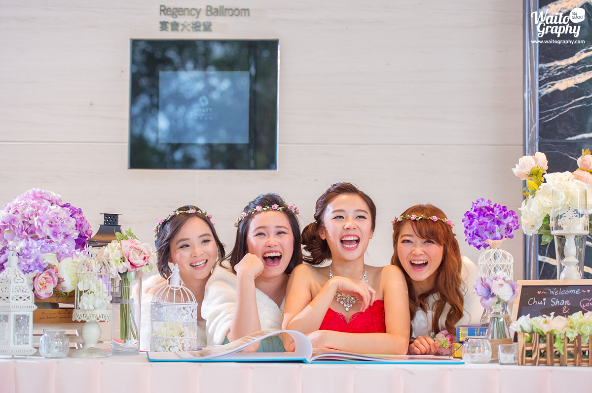 happy bride and sisters during a wedding in hk
