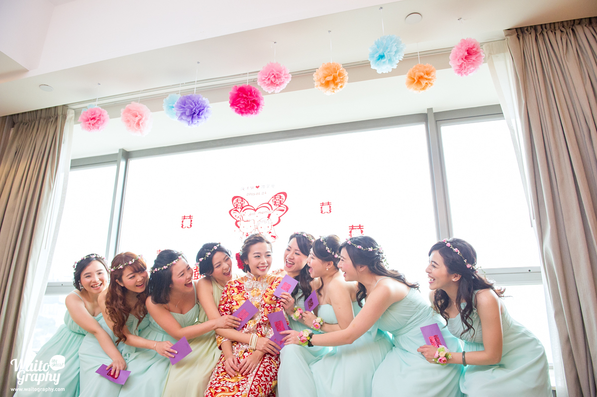 sisters playing with each others in a hk wedding