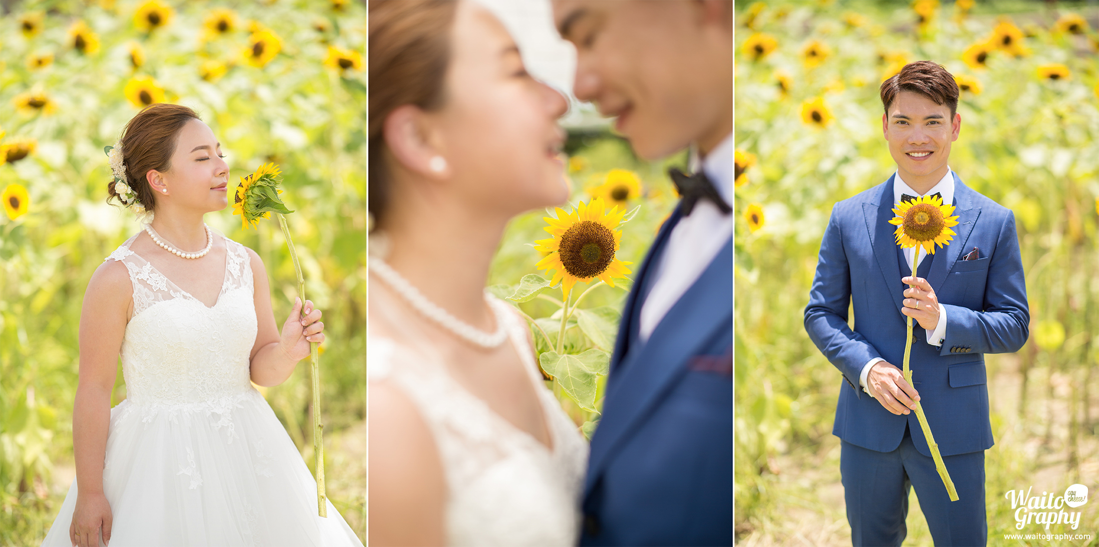 HK best engagement wedding photographer captured sweet and unforgettable moment for HK couple in a sunflower field