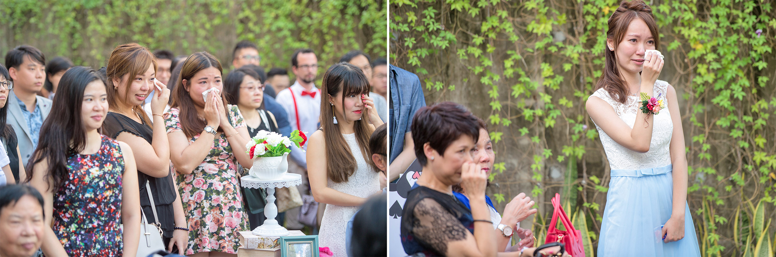 Hong Kong wedding photographer captured guests and bridesmaid moved to tears by the newly wedded couples at ZCB