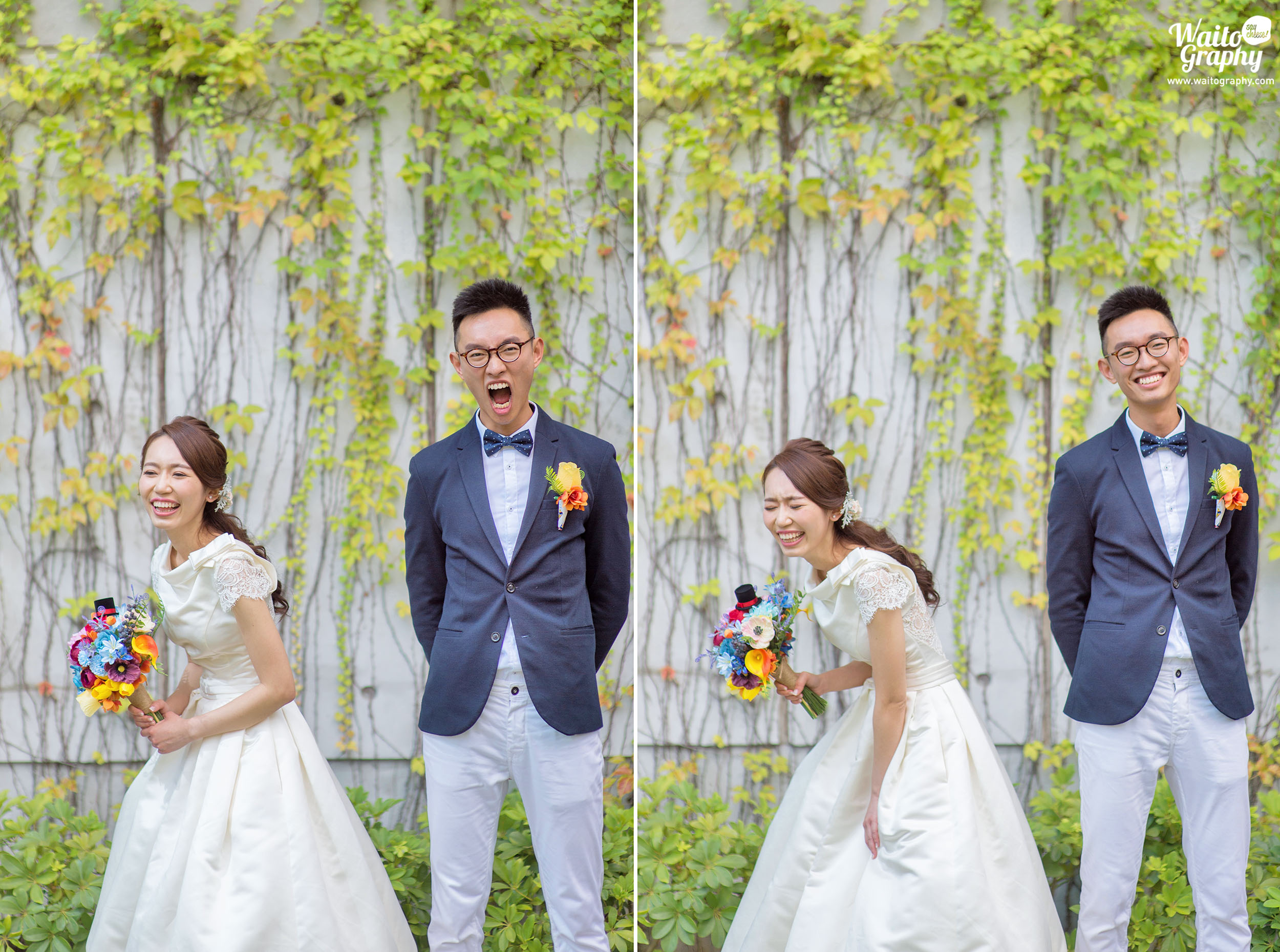 Newly wedded couples showing joyous moment at the Hong Kong wedding located at Zero Carbon Building ZCB HK