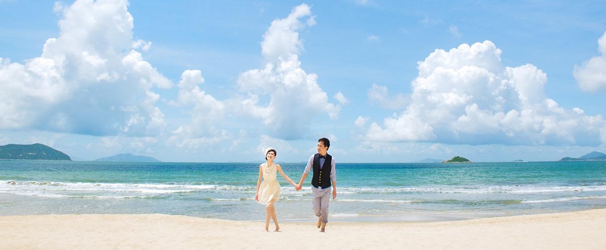 hk prewedding at beautiful seashore